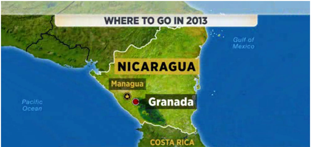 Nicaragua is named as one of the best places on the Where to go in 2013 list in the news.